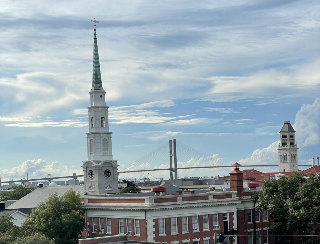 view from rooftop bar at perry lane hotel boutique hotel in savannah georgia