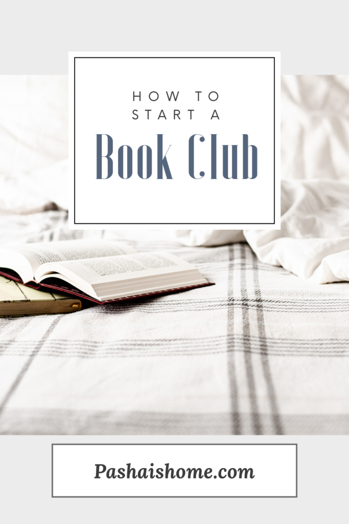 how to start a book club with a book on a bed with a plaid blanket