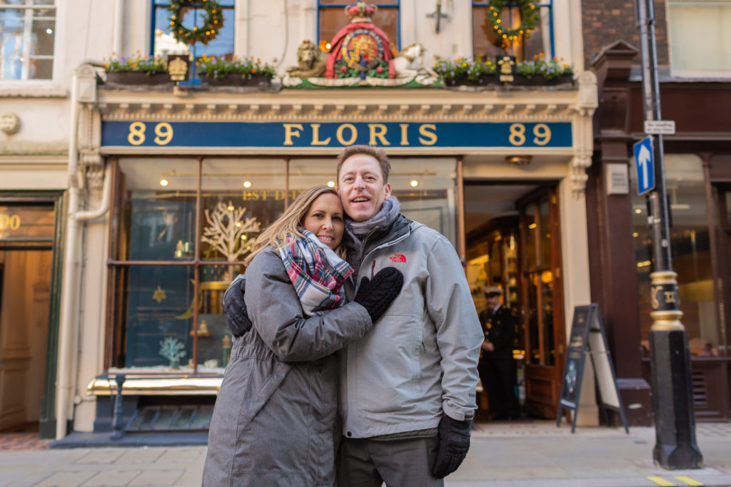 Floris London England Christmas photo shoot Flytographer what to do in london at christmas time