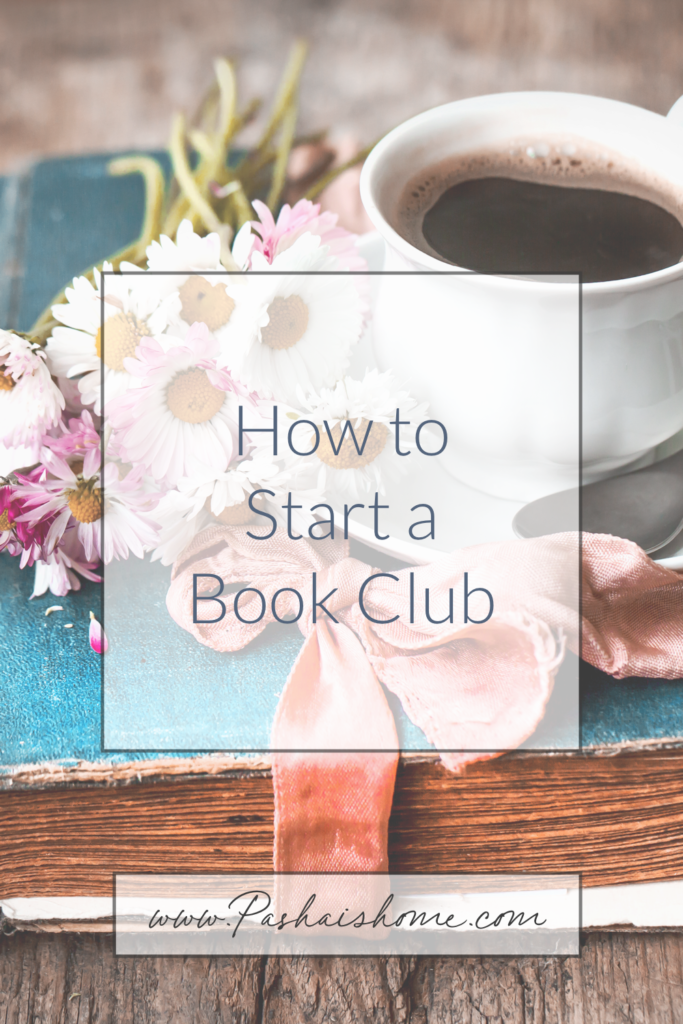 how to start a book club in six easy steps with a blue book and daisies and a cup of coffee