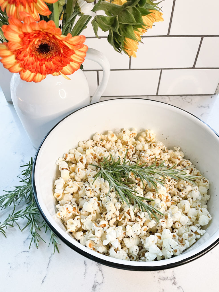 The Last Stovetop Popcorn Recipe you Will Ever Need. browned butter and herb homemade popcorn. Best Popcorn recipe How to pop popcorn - quartz countertops white subway tile