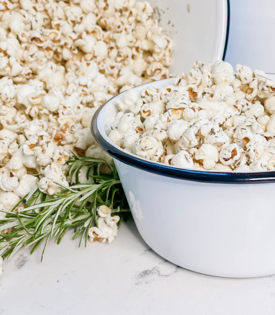 The Last Stovetop Popcorn Recipe you Will Ever Need. browned butter and herb homemade popcorn. Best Popcorn recipe - quartz countertops white subway tile