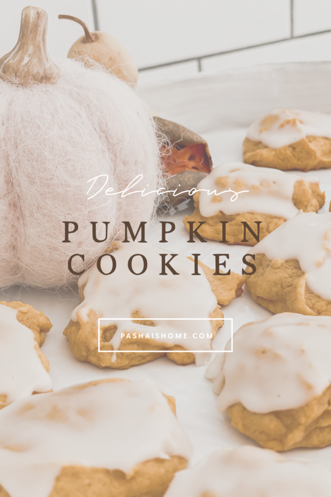 Pumpkin Cookie recipe that will surely be a fall favorite as they are a soft pumpkin cookie on a pretty white cake stand.  Wall color is Sherwin Williams Accessible Beige.  Countertops are white quartz and backsplash is white subway tile with gray grout.