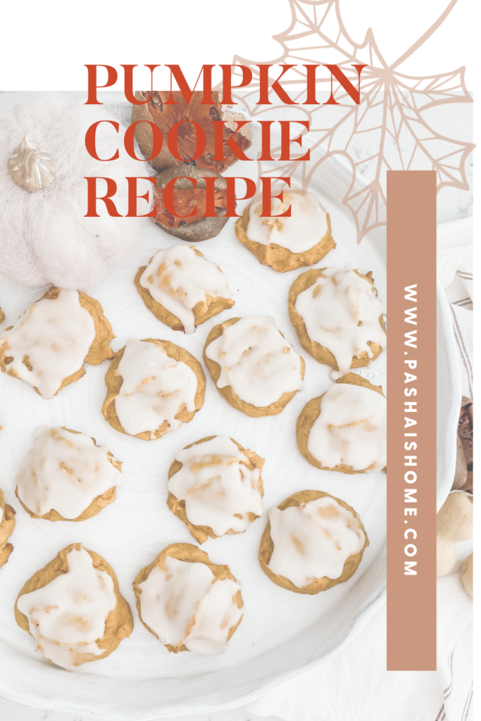 Pumpkin Cookie recipe that will surely be a fall favorite as they are a soft pumpkin cookie on a pretty white cake stand.  Wall color is Sherwin Williams Accessible Beige.  Perimeter countertops are white quartz and island is soapstone.  Backsplash is white subway tile with gray grout.