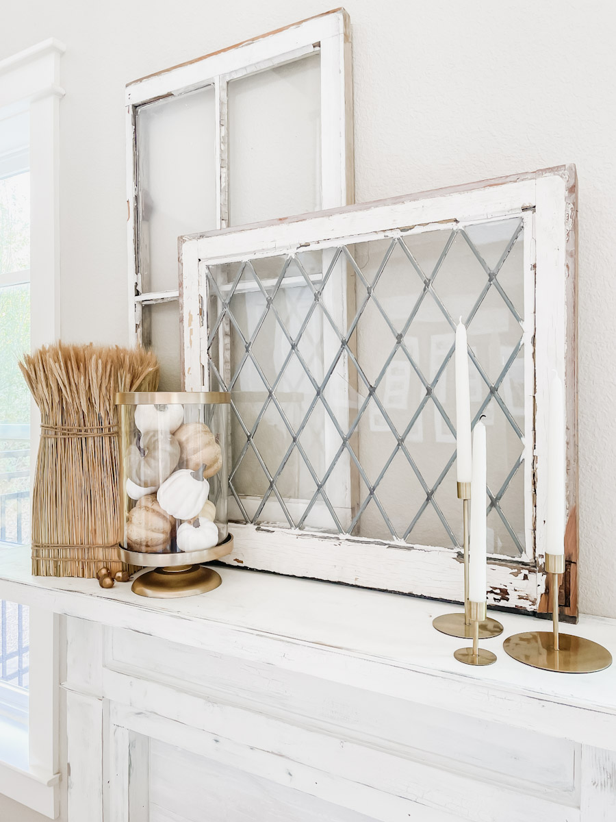 fallify your fireplace mantel fall fireplace mantel ideas with candlesticks and wheat sheaths sherwin williams accessible beige paint color shiplap walls